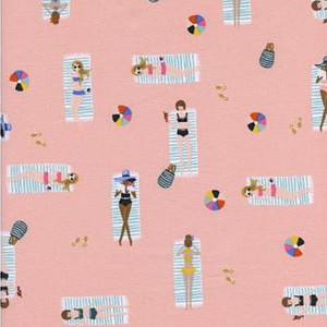 Coral sun tanning cotton fabric - Rifle Paper Co. Sun Girls cotton fabric