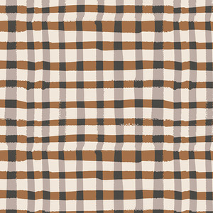 Brown black plaid fabric - Wooly Umber Lambkin cotton fabric AGF