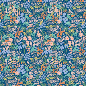Blue Meadow Rifle Paper Co floral fabric Blue Floral cotton fabric
