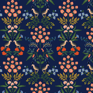 Navy meadow Rifle Paper Co. floral Luxemburg fabric - cotton fabric