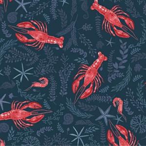 Navy Lobster crawfish shrimp fabric - Dear Stella Clawsome cotton