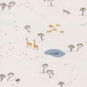 White jungle animals fabric - Cloud 9 Fabrics Precious Kingdom fabric