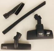 SET OF 4 MIELE ATTACHMENTS: floor brush, twister brush, flex crevice tool, dusting brush (Used)