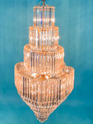 "ARTCRAFT CRYSTAL CHANDELIER: 70"" high, 33"" wide, 23 lights (Used)"