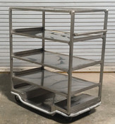 EXTRA HEAVY DUTY BANQUET CART: 5 shelf w/ handle, stainless steel (Used)