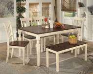 Whitesburg 6 Pc Rectangular Dining Room Table, 4 Side Chairs & Bench