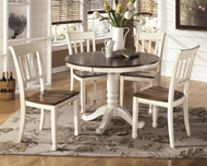 Whitesburg Brown/Cottage White 6 Pc. Round Dining Table & 4 Side Chairs