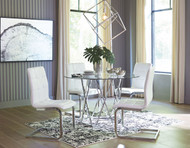 Madanere Chrome Finish 5 Pc. Round DRM Table & 4 Side Chairs