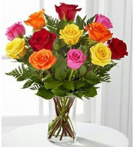 Dozen Brightly Colored Roses