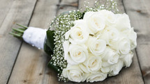 White Roses & Babies Breath Bouquet