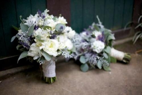White, Cream & Silver Grey Bouquet