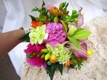 Orchids, Peony, Hydrangea, Ranunculus, & Freesia Bouquet
