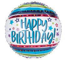 happy birthday stars mylar balloon