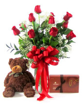 Dozen Roses, Lake Champlain Chocolates, Teddy Bear