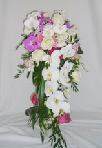 Large Cascading Bridal Bouquet. Roses and Orchids