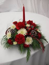 Our Best Seller. Local delivery only. Lovely centerpiece in red and white with ribbons and a candle.