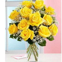 Dozen Sunny Yellow Roses Arranged **Special**