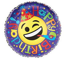 Happy Birthday Smiley Face Mylar Balloon