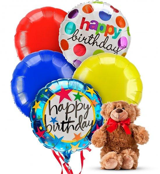 Delivery Today Plush Teddy Bear Mylar Happy Birthday Balloons