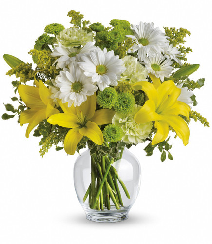 This impressive bouquet includes yellow asiatic lilies, green carnations, white daisy spray chrysanthemums and green button spray chrysanthemums accented with assorted greenery. Delivered in a glass ginger jar.