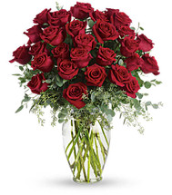 Red roses in a Vase.