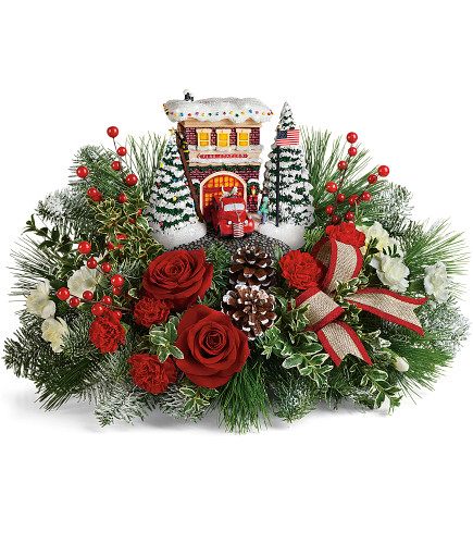 Thomas Kincaid Festive Fire Station Bouquet/ Christmas Holiday at its best!