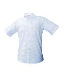 Blue Pinstripe Oxford Unisex Short Sleeve