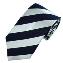 Navy and Silver stripe in a 4 in hand tie