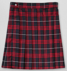 Navy/Red Plaid Pleated Skirt
