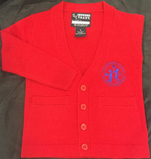 BOYS' RED V-Neck Cardigan Sweater