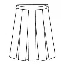 Skirt with stitch down box pleats, side zip, interior coin pocket, and adjustable inside waistband. 65% Poly- 35% Cotton