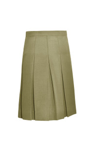 Skirt with stitch down box pleats, side zip, interior coin pocket. 60% Poly- 40% Rayon