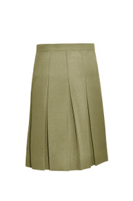 Skirt with 2 kick pleats, right side seam pocket, and adjustable inside waistband. 60% Poly- 40% Cotton