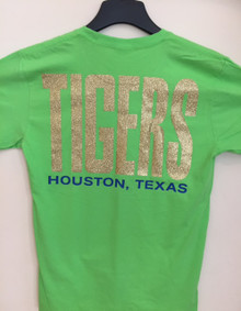 Flash Green with Gold Glitter - TIGERS on Back