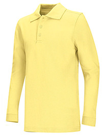 Unisex Polo Pique Long Sleeve-Yellow