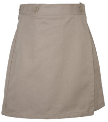 Skort 2 Button Wrap Reg-Khaki