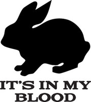 Its In My Blood Rabbit Decal HNT1-196 Hunting Window Sticker