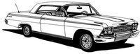"62 Chevy Impala Decal BCC Classic Cars Large 12"" Window Stickers"