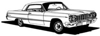 """64 Chevy Impala Decal Classic Cars Large 12"""""""