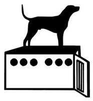Dog and Dog Box Decal  Coon Hunting Window Sticker