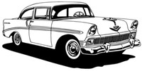 "56 Chevy Hard Top Decal BCC Classic Cars Large 12"" Antique Car Sticker"