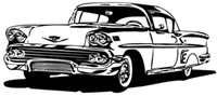 1958 Impala Hard Top Decal, BCC Vinyl Shop Stickers12""