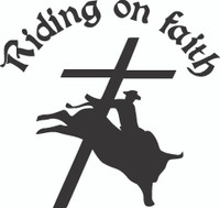 Riding On Faith Decals and Car Stickers. Personalize any of our religion decals with your choice of text, color and size. These stickers are great for trucks, cars, windows, gun cabinets, 4-wheelers, boats, mailboxes or any clean semi-smooth surface. Show your passion.