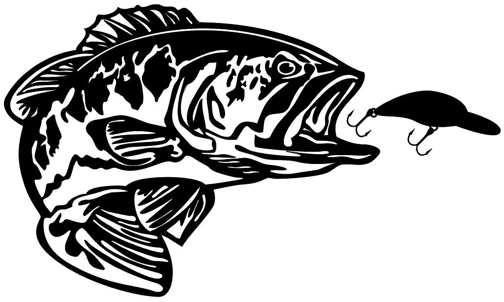 Bass With Bait Decal Md5 Vinyl Fishing Boat Sticker