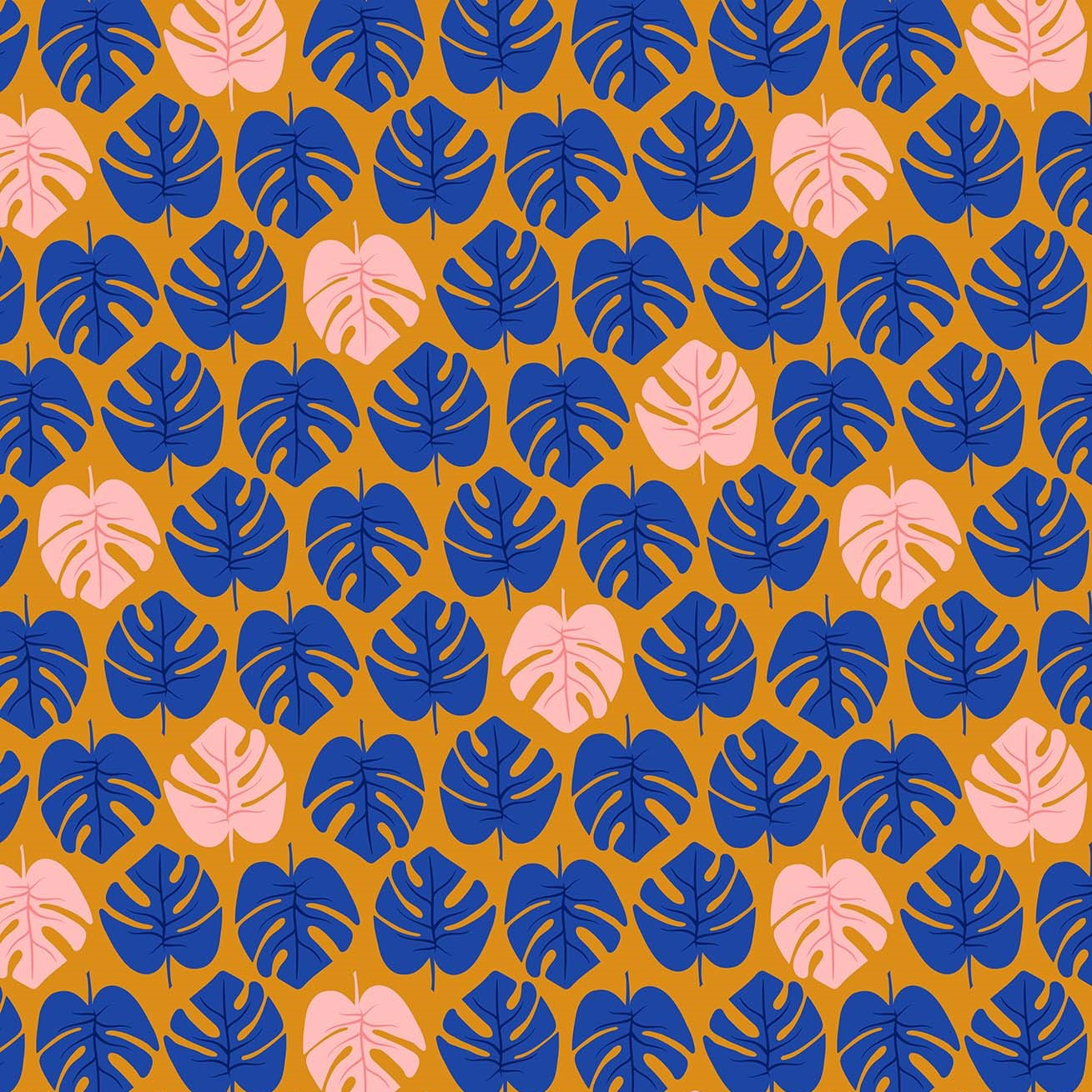 Monstera Navy from the Tropical Jammin' collection by Figo Fabrics, 100% cotton fabric