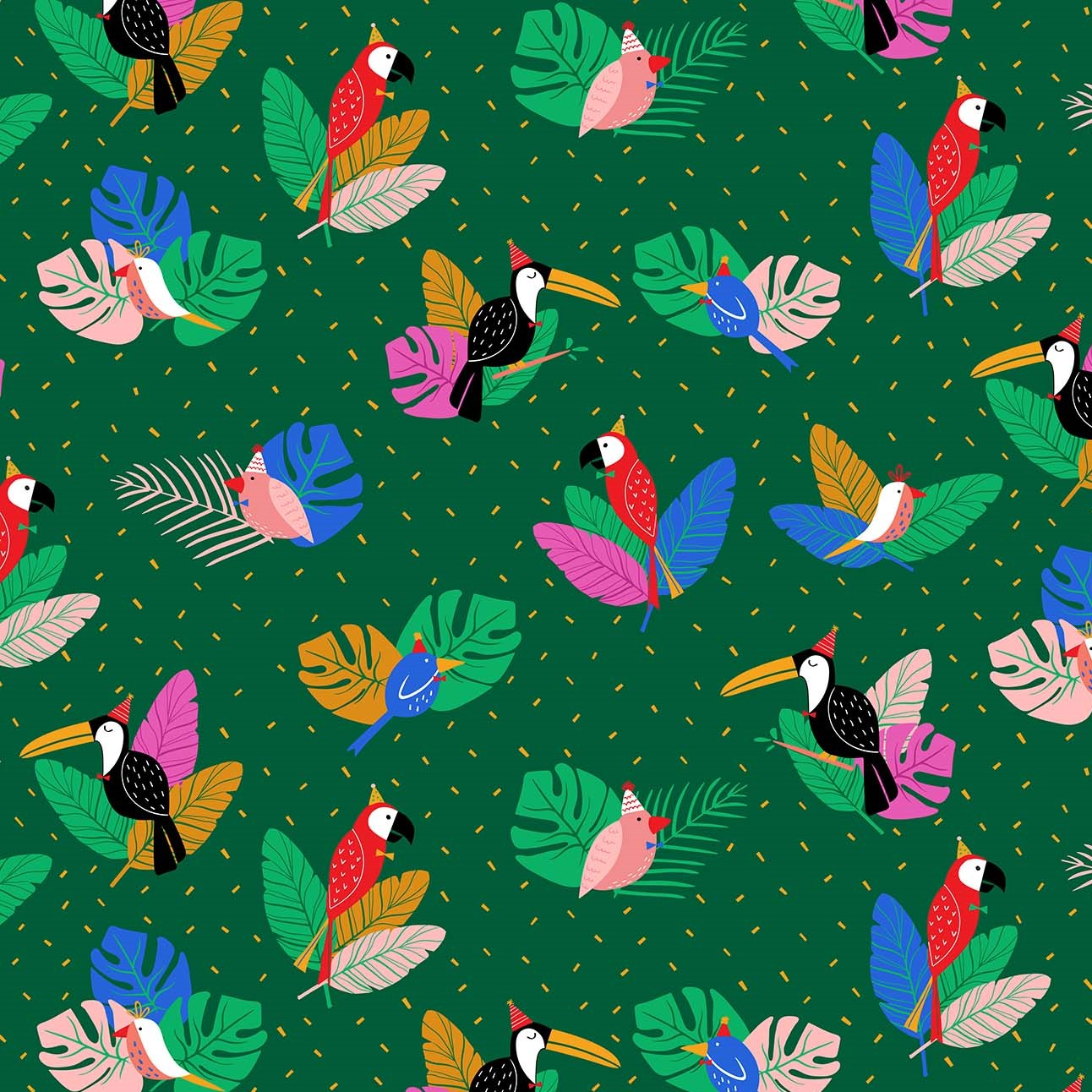 Party Birds Green from the Tropical Jammin' collection by Figo Fabrics, 100% cotton fabric