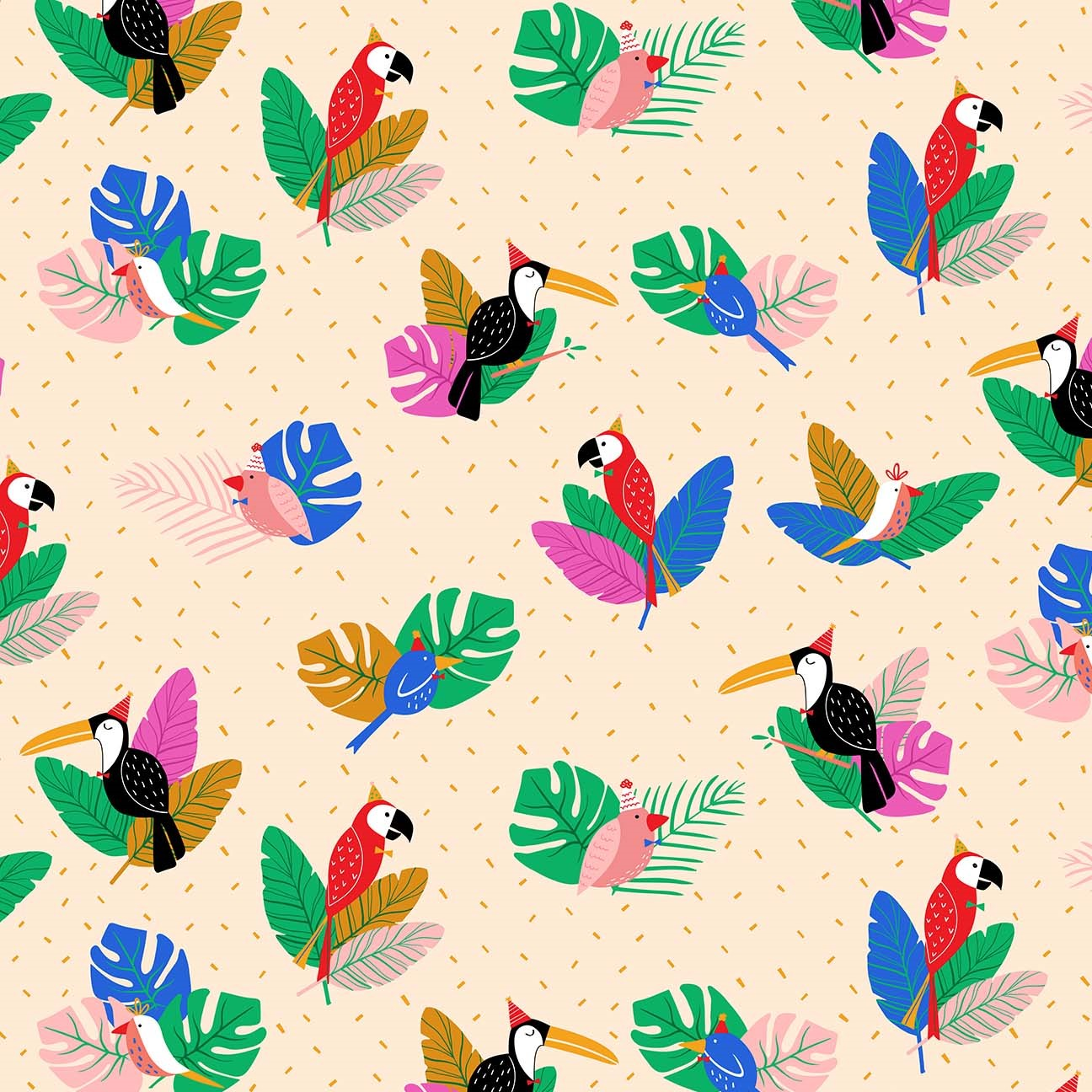 Party Birds Cream from the Tropical Jammin' collection by Figo Fabrics, 100% cotton fabric
