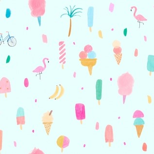 Summer Haze Skylight from the Girls Wanna Have Sun collection by Dear Stella. 100% Cotton Fabric