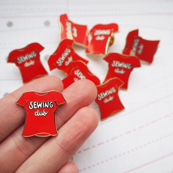 Sewing Club Enamel Pin Badge in Tomato Red
