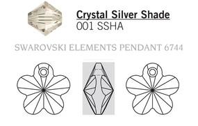 Swar Crystal Pendant 6744 - 18mm, Crystal Silver Shade (001 SSHA), 2pcs